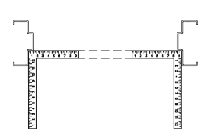 Figure 5b: Place 2 framing squares in the rabbets. Check alignment with a straight edge. They should be even.